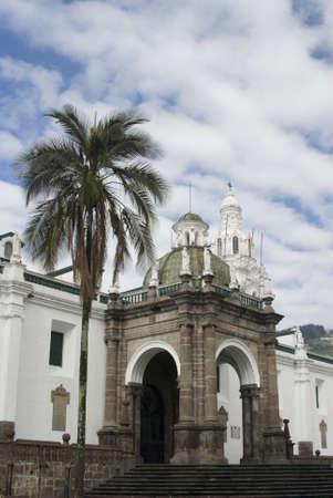plaza: cathedral on plaza grande church of el segrario quito ecuador next to palacio del gobierno