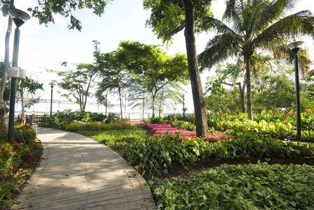 garden seaside malecon 2000 park and pedestrian walkway guayaquil eduador south america river front rio guayas