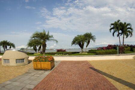 pedestrian walkway: seaside malecon 2000 park and pedestrian walkway guayaquil eduador south america river front rio guayas