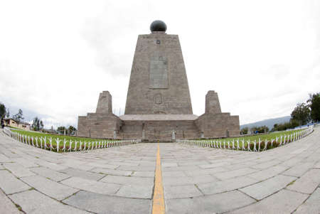 west side line monument at mitad del mundo middle of the earth equator ecuador