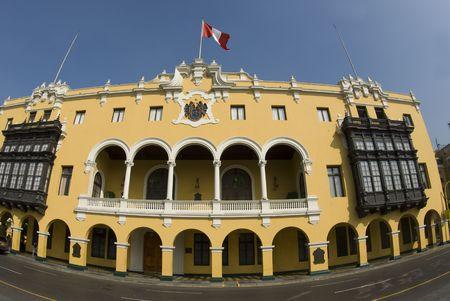 plaza of arms: la municipalidad de lima municipal building city hall on plaza mayor armas lima peru