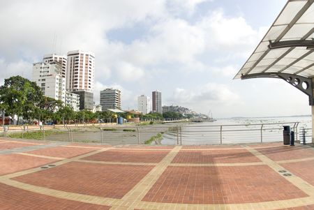 historic district: view of offices condominiums harbor and las penas from malecon 2000 historic district art center guayaquil ecuador Stock Photo