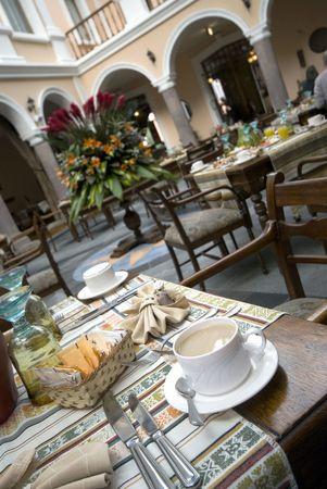 coffee in restuarant famous historic hotel with beautiful architectue quito ecuador Stock Photo - 2746432