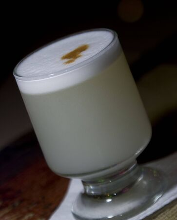 pisco sour the national  cocktail drink of peru photo