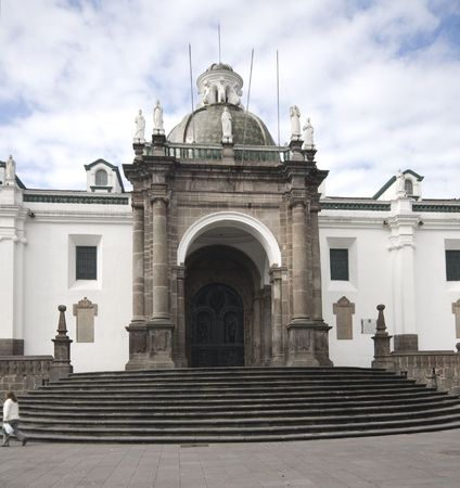 national cathedral church on plaza grande by presidential palace quito ecuador south america photo