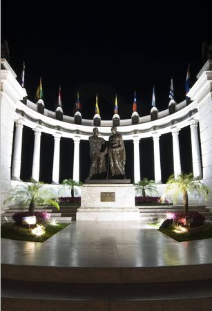 rotunda with statues on malecon 2000 guayaquil ecuador south america night scene