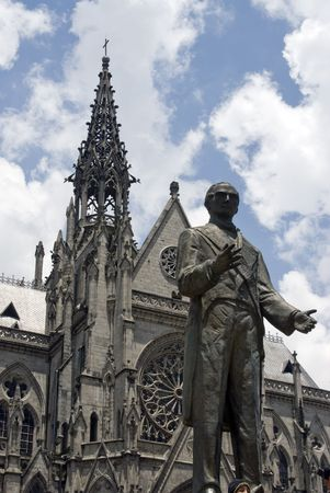 garcia: statue garcia moreno in front of basilica quito ecuador