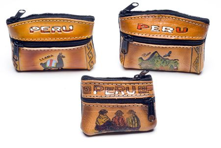 change purses: change purses from peru souvenirs leather hand made Stock Photo