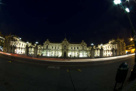 plaza de armas: presidential palace plaza de armas night scene with movement streaks llima peru south-america