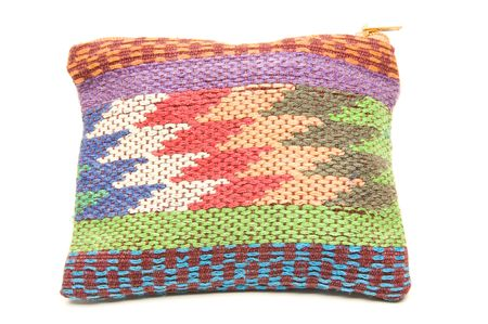 knitted hand made change purse handbag produced in honduras central america Stok Fotoğraf