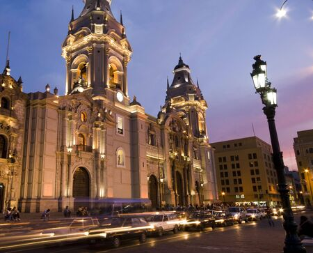 plaza: catedral at night on plaza de armas also known as plaza mayor lima peru