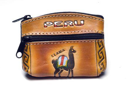 hecho a mano de recuerdo para cambiar bolso de cuero de llama con motivo de animales nativos dise�o per� Am�rica del Sur  Foto de archivo - 3242698