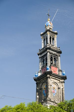 westerkerk: westerkerk western church westerchurch tower detail bears the symbol of the imperial crown of Maximilian of Austria with clocks amsterdam holland the netherlands burial place of artist rembrandt Stock Photo