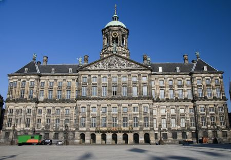square: royal palace  next to nieiwe kerk new church on dam square amsterdam holland netherlands