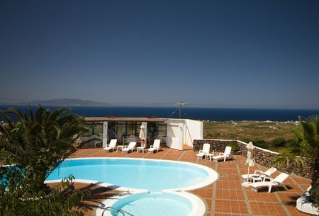 highkey: swimming pool with mediterranean sea view oia ia santorini thira greek cyclades islands greece