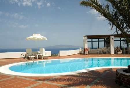ia: swimming pool with mediterranean sea view oia ia santorini thira greek cyclades islands greece
