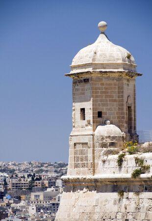 sentry: sentry post overlooking grand harbor senglea fortification fort valletta malta capital Stock Photo