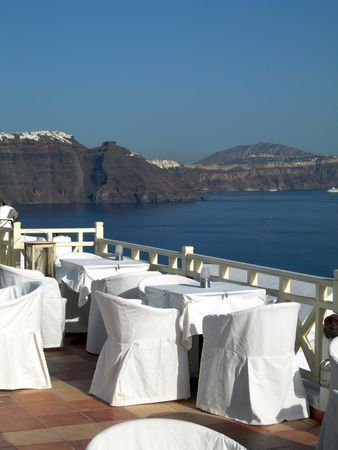 ia:  restaurant with volcanic cliff caldera view greek islands greece santorini thira ia oia town