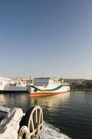 boats cruise ships ferries tankers in harbor piraeus athens greece