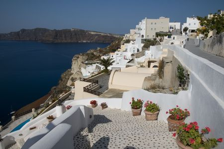 thira: santorini hotel villa view over harbor from oia ia town thira aegean sea greek islands greece mediterranean