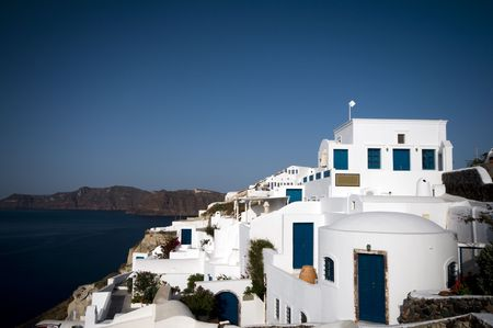 ia: cyclades architecture hotels s over the caldera ia oia santorini greek islands greece mediterranean sea view Stock Photo