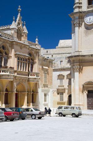 catholic nuns: malta plaza san paul and st. pauls cathedral medieval town of mdina rbat