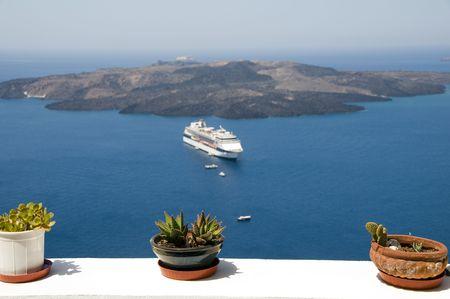 thira: santorini greek island view cactus plant  over caldera volcanic island cruise ship in harbor thira