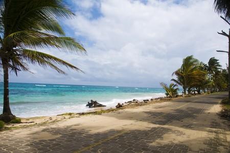 sallie peachie beach on the malecon highway rural corn island nicaragua caribbean sea Stock Photo - 4000910