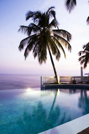 infinity pool: luxury infinity swimming pool with coconut palm tree Big Corn Island Caribbean sea Nicaragua