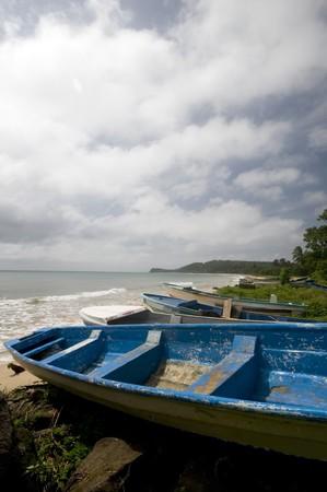 long bay: fishing boats long bay caribbean sea corn island rural nicaragua Stock Photo