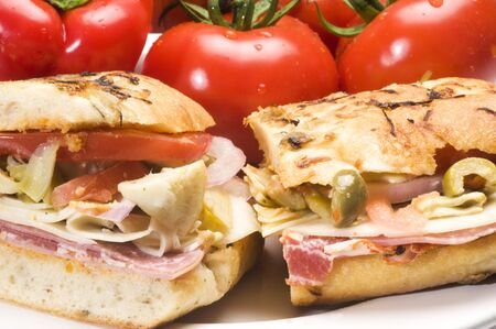 ham sandwich: gourmet hot ham sandwich rosemary bread with variety of ham and italian salami