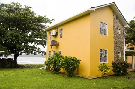 corn island: large house residence by caribbean sea corn island nicaragua central america Stock Photo
