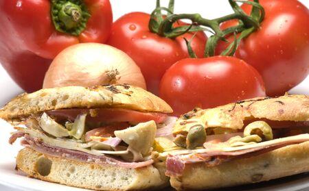 gourmet hot ham sandwich rosemary bread with variety of ham and italian salami