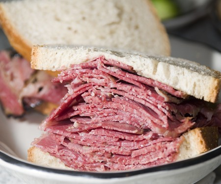 jewish: corned beef pastrami side by side sandwich rye bread kosher jewish delicatessen new york Stock Photo
