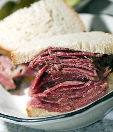 side of beef: corned beef pastrami side by side sandwich rye bread kosher jewish delicatessen new york Stock Photo