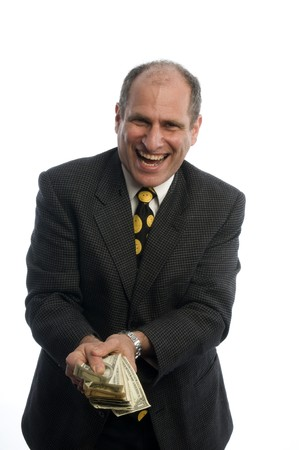 doctor giving dollars: man happy excited waving cash money banker attorney executive Stock Photo