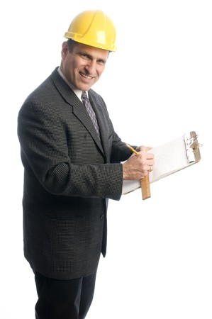 excited happy contractor builder architect with plan clipboard photo