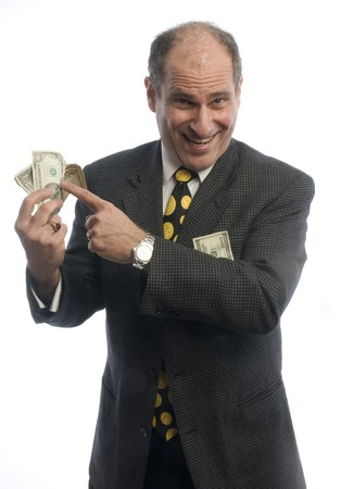 doctor giving dollars: happy excited business man banker with wad of cash money