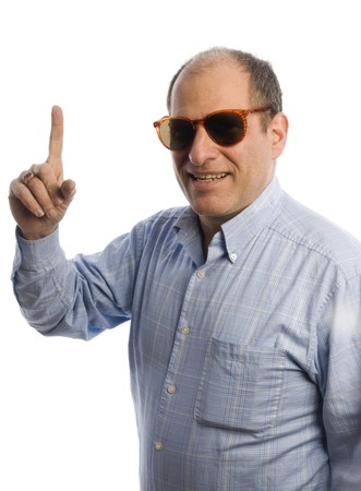 happy middle age senior man portrait smiling with finger number one photo