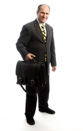 senior corporate executive traveling with expensive hand made leather bag suitcase satchel Stock Photo - 4477620