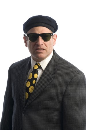 tough looking spy secret service fbi man with sunglasses and french beret hat photo