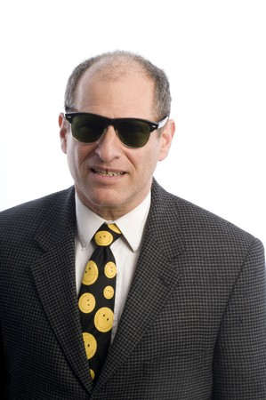 dangerous looking tough man with sunglasses white background photo