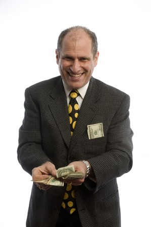 doctor giving dollars: man wealthy successful money cash smiling middle age lottery winner lawyer business male