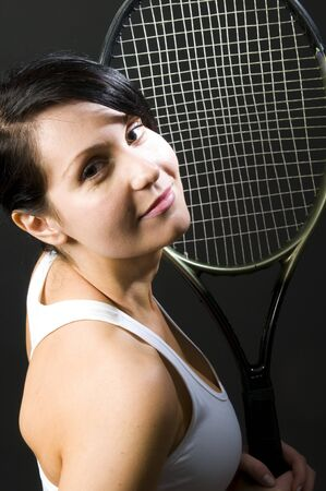 pretty sexy young female woman tennis player tennis clothes and racket Stock Photo - 4559653