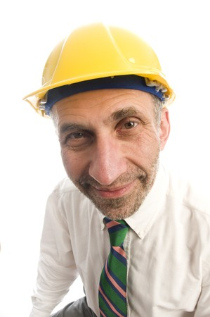 executive contractor designer architect builder senior man hard hat helmet photo
