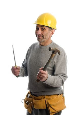 builder contractor home handy man  tools ready to work wearing hard hat protective helmet