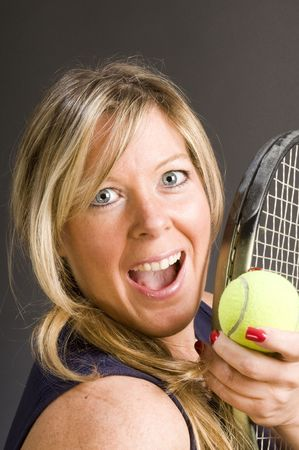 happy smiling female tennis player with racquet and ball healthy lifestyle concept Stock Photo - 4608816