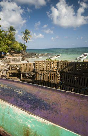 native fishing boat lobster trap caribbean sea big corn island nicaragua central latin america photo