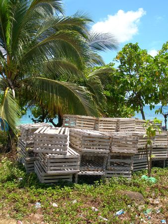 lobster traps by the caribbean sea in big corn island nicaragua in central america       photo