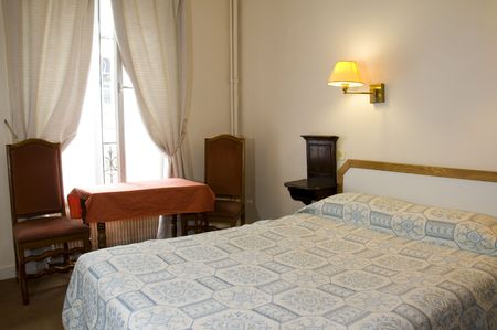 typical two star hotel room paris france in the latin quarter hotizontal composition photo